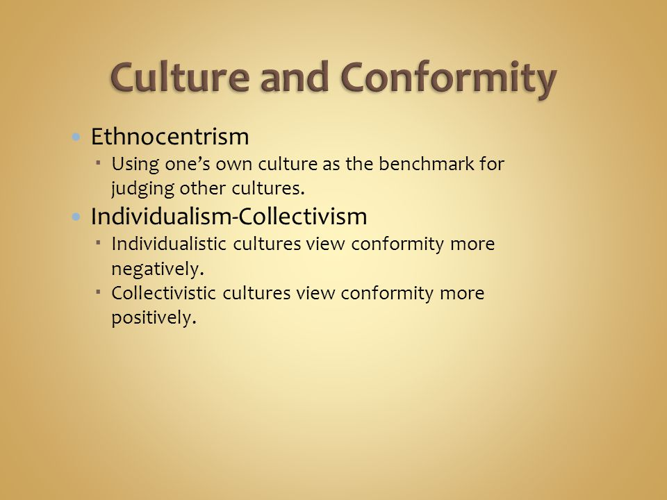 Ethnocentrism  Using one's own culture as the benchmark for judging other cultures.
