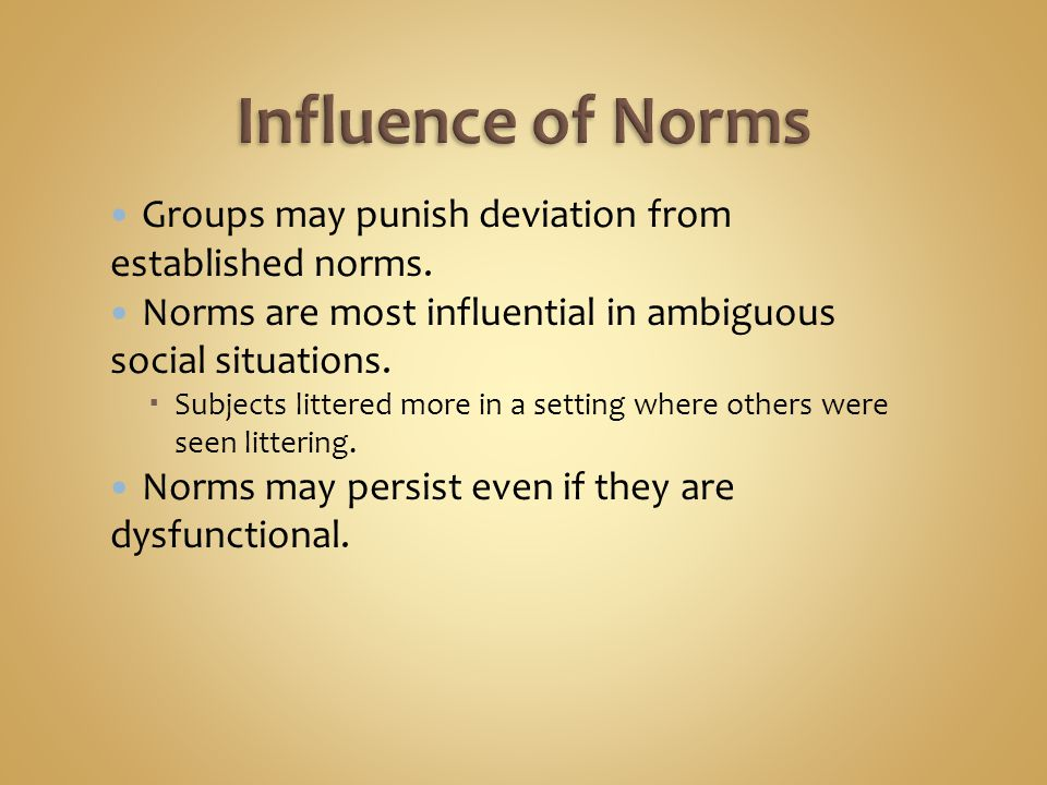 Social impact theory  Each additional member adds pressure to conform.