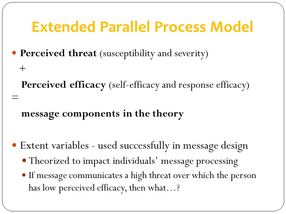 Extended Parallel Process Model Perceived threat (susceptibility and severity) + Perceived efficacy (self-efficacy and response efficacy) = message co