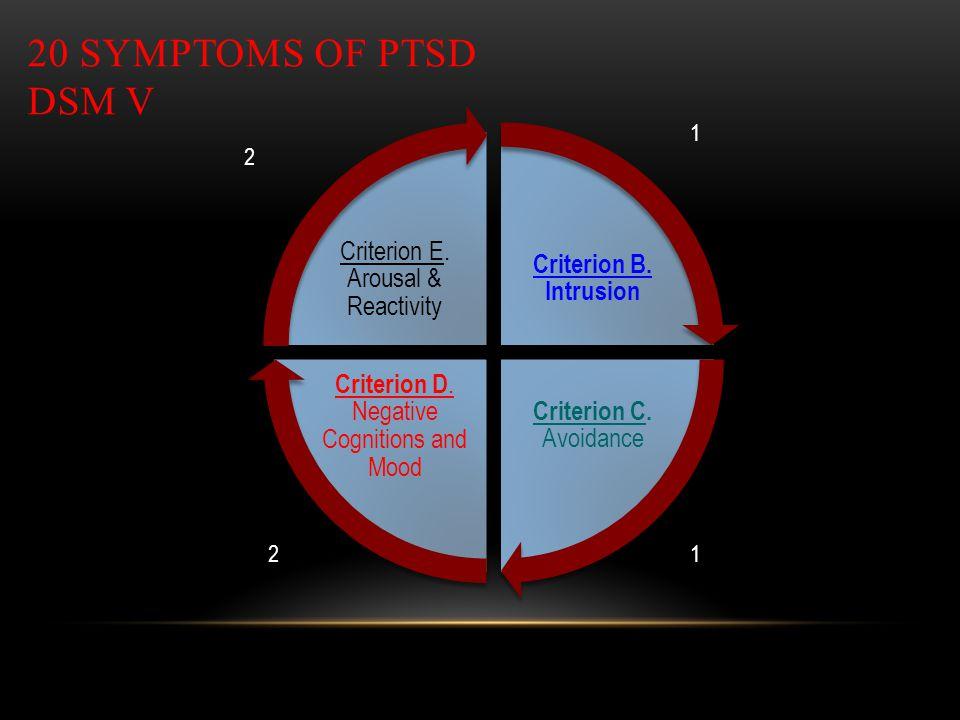 20 SYMPTOMS OF PTSD DSM V Criterion B. Intrusion Criterion C. Avoidance Criterion D. Negative Cognitions and Mood Criterion E. Arousal & Reactivity 1