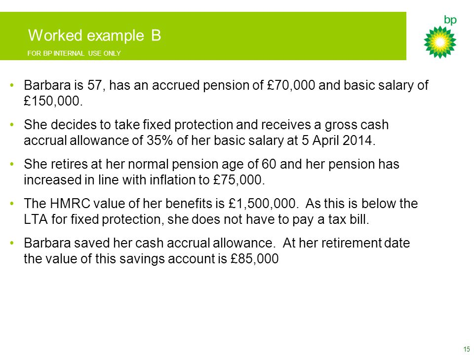 FOR BP INTERNAL USE ONLY Worked example B Barbara is 57, has an accrued pension of £70,000 and basic salary of £150,000.