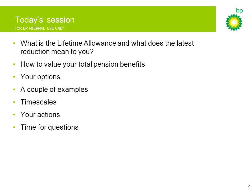 FOR BP INTERNAL USE ONLY LTA calculator screenshots 23