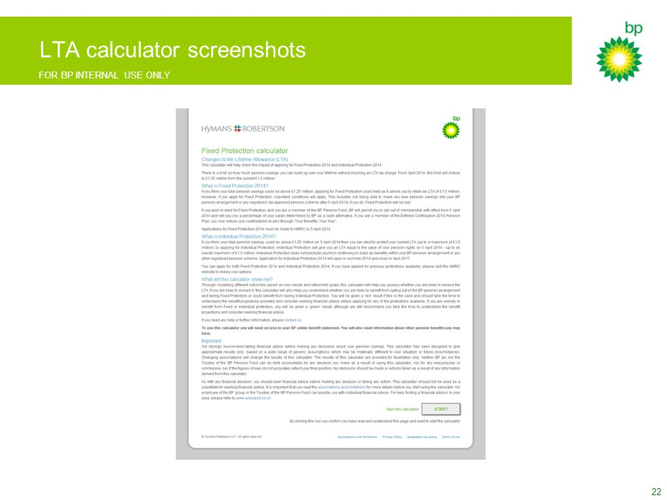 FOR BP INTERNAL USE ONLY LTA calculator screenshots 22