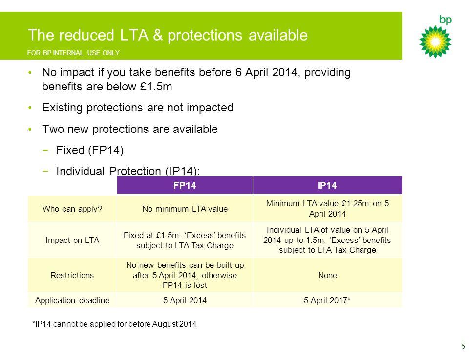 FOR BP INTERNAL USE ONLY LTA calculator screenshots 26