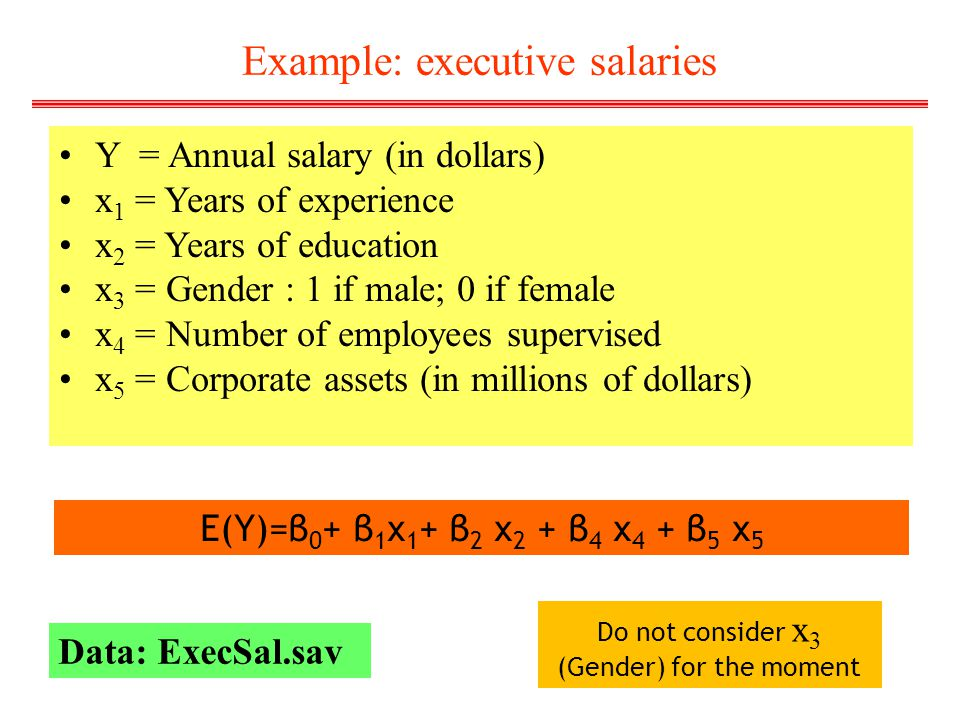 Example: executive salaries Y = Annual salary (in dollars) x 1 = Years of experience x 2 = Years of education x 3 = Gender : 1 if male; 0 if female x
