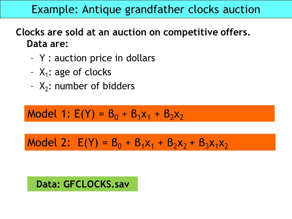Example: Antique grandfather clocks auction Clocks are sold at an auction on competitive offers. Data are: –Y : auction price in dollars –X 1 : age of