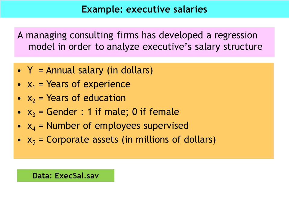 Example: executive salaries A managing consulting firms has developed a regression model in order to analyze executive's salary structure Y = Annual s