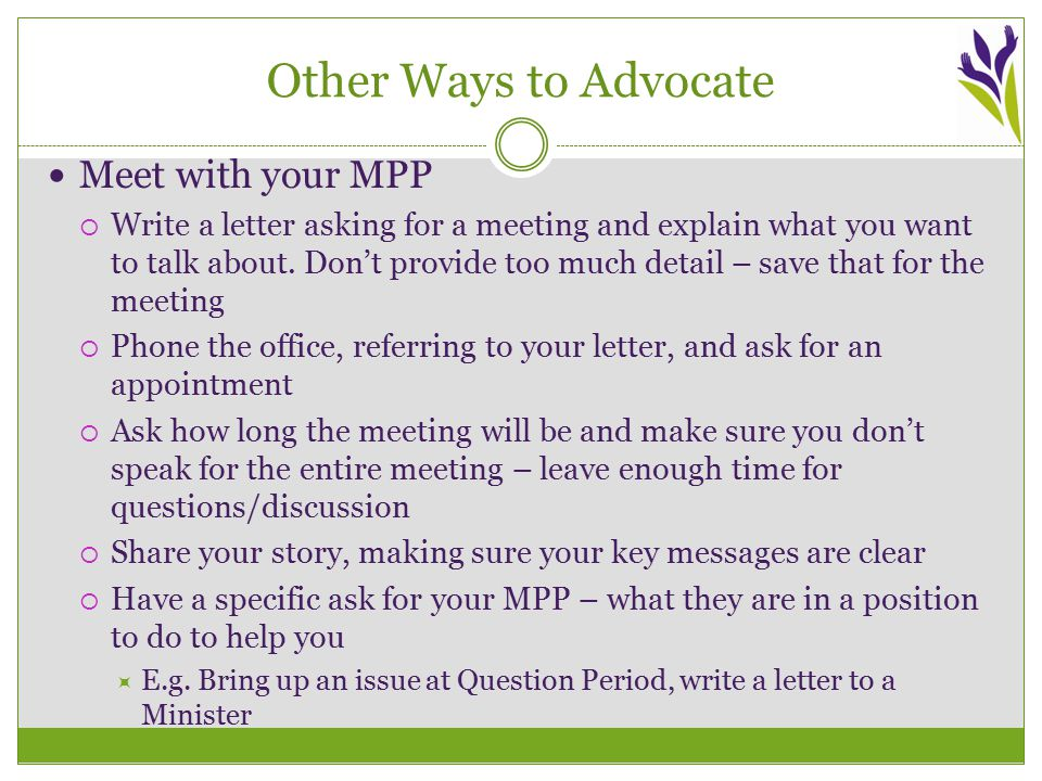 Other Ways to Advocate Meet with your MPP  Write a letter asking for a meeting and explain what you want to talk about.