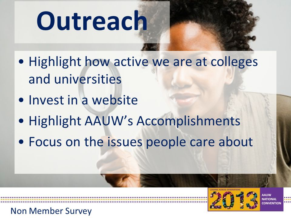 Outreach Highlight how active we are at colleges and universities Invest in a website Highlight AAUW's Accomplishments Focus on the issues people care about Non Member Survey