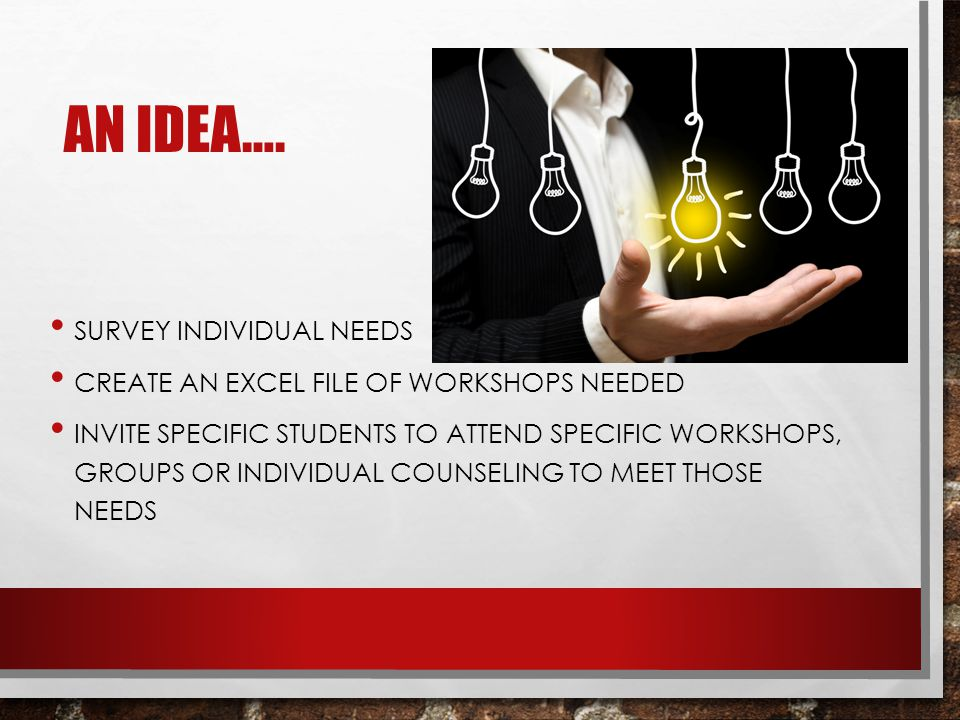 AN IDEA…. SURVEY INDIVIDUAL NEEDS CREATE AN EXCEL FILE OF WORKSHOPS NEEDED INVITE SPECIFIC STUDENTS TO ATTEND SPECIFIC WORKSHOPS, GROUPS OR INDIVIDUAL