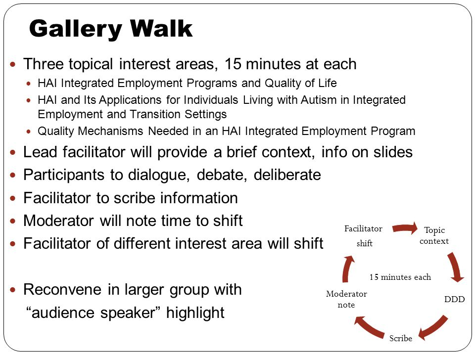 Gallery Walk Three topical interest areas, 15 minutes at each HAI Integrated Employment Programs and Quality of Life HAI and Its Applications for Indi