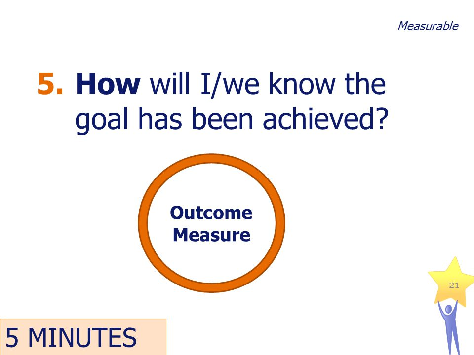 5.How will I/we know the goal has been achieved? 21 Measurable Outcome Measure 5 MINUTES