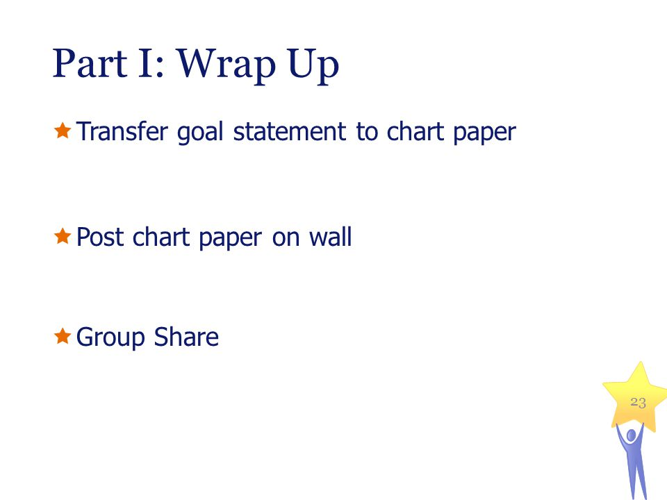 Part I: Wrap Up  Transfer goal statement to chart paper  Post chart paper on wall  Group Share 23