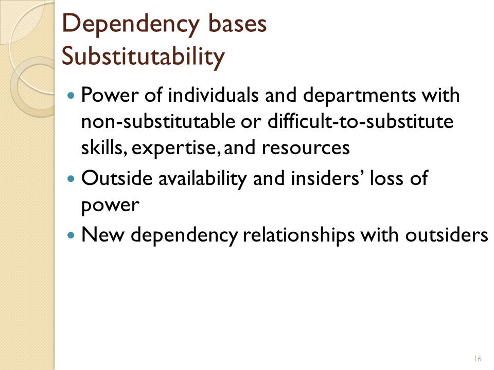 Dependency bases Substitutability Power of individuals and departments with non-substitutable or difficult-to-substitute skills, expertise, and resour