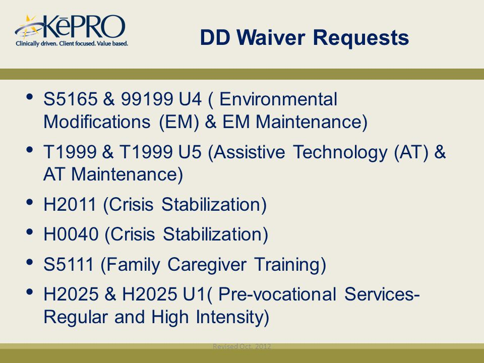 DD Waiver Requests S5165 & 99199 U4 ( Environmental Modifications (EM) & EM Maintenance)‏ T1999 & T1999 U5 (Assistive Technology (AT) & AT Maintenance