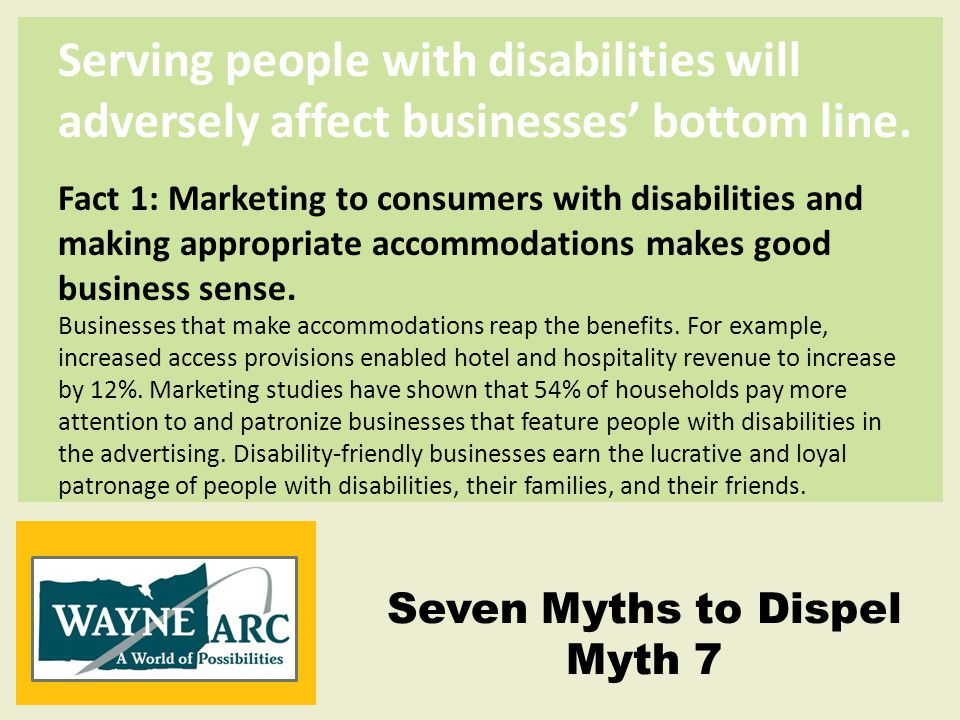 Serving people with disabilities will adversely affect businesses' bottom line.