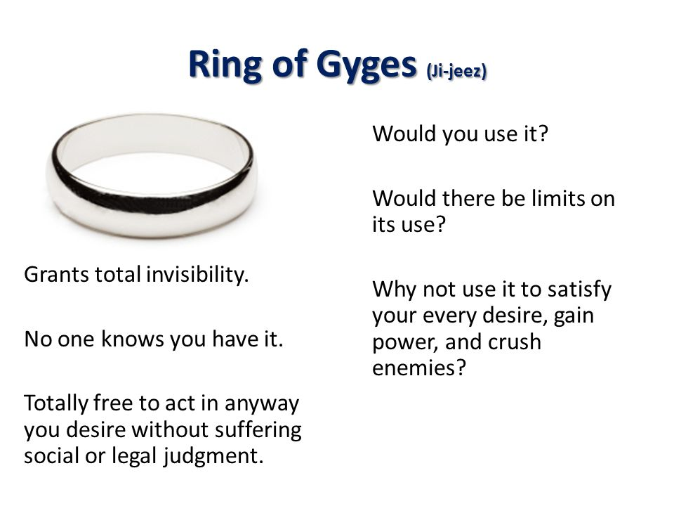 Ring of Gyges (Ji-jeez) Grants total invisibility.