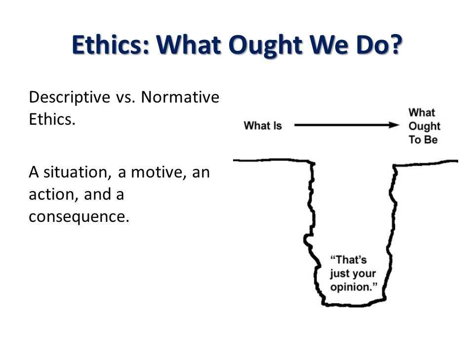 Ethics: What Ought We Do? Descriptive vs. Normative Ethics. A situation, a motive, an action, and a consequence.
