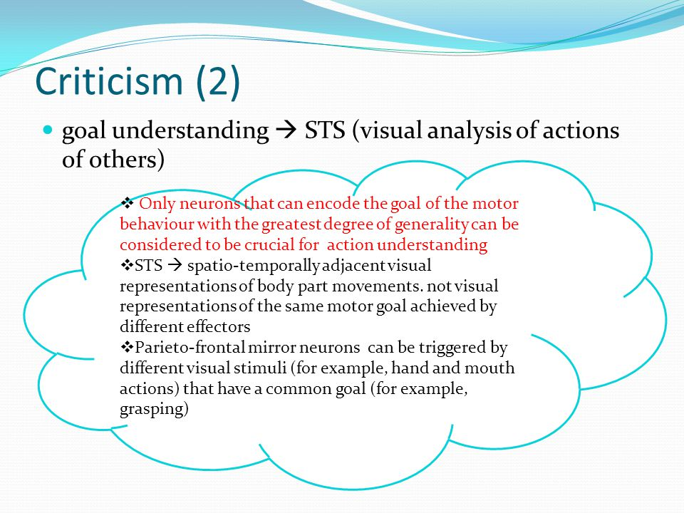 Criticism (2) goal understanding  STS (visual analysis of actions of others)  Only neurons that can encode the goal of the motor behaviour with the greatest degree of generality can be considered to be crucial for action understanding  STS  spatio-temporally adjacent visual representations of body part movements.
