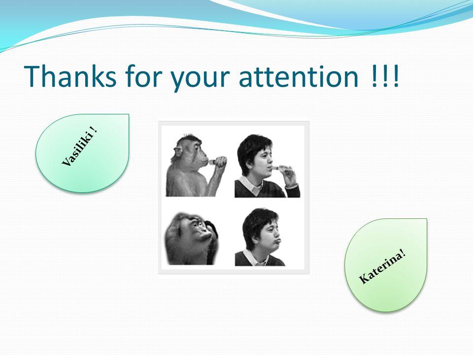 Thanks for your attention !!! Vasiliki ! Katerina!