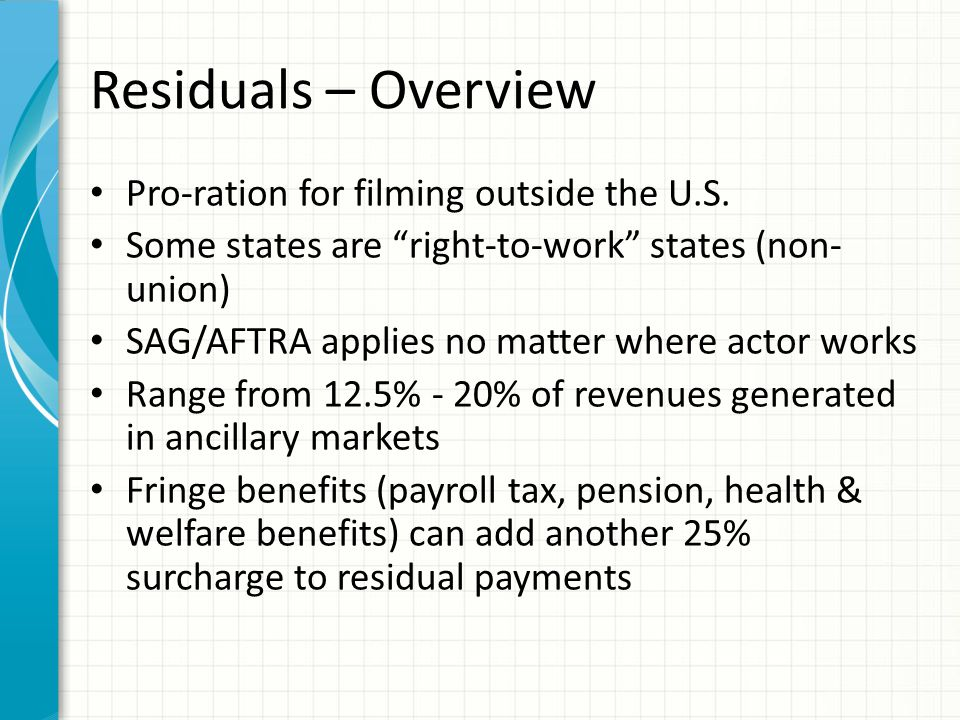 "Residuals – Overview Pro-ration for filming outside the U.S. Some states are ""right-to-work"" states (non- union) SAG/AFTRA applies no matter where act"