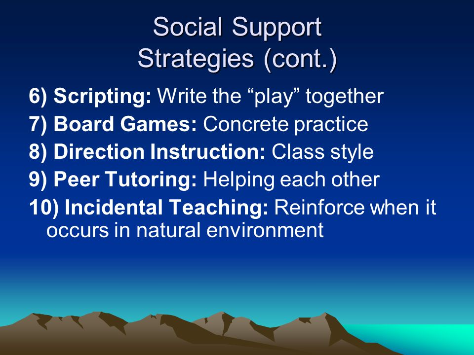 Social Support Strategies (cont.) 11) Rehearsal: Acronyms, practice Accepting Help: Greet Express appreciation Tell how to help Thank the person GETT