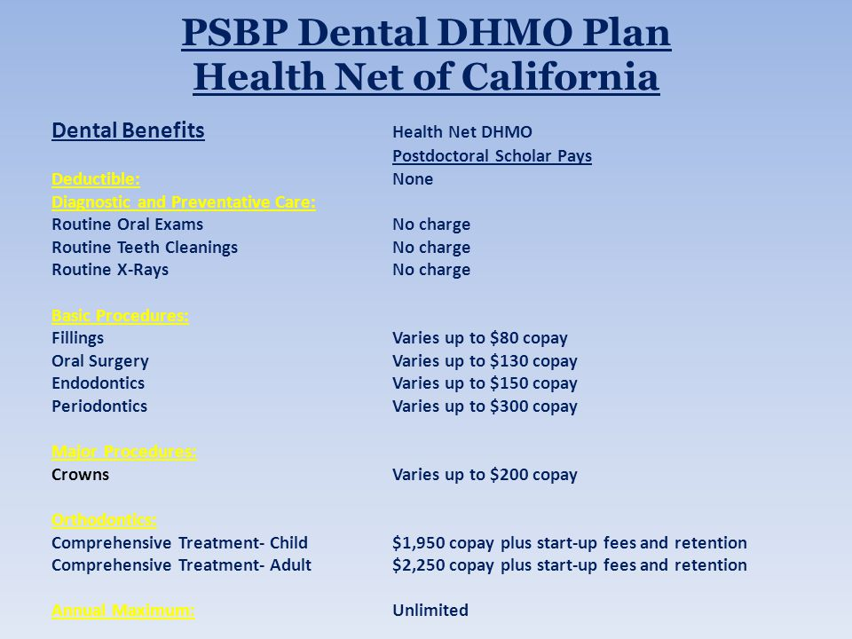 PSBP Dental DHMO Plan Health Net of California Dental Benefits Health Net DHMO Postdoctoral Scholar Pays Deductible:None Diagnostic and Preventative Care: Routine Oral ExamsNo charge Routine Teeth CleaningsNo charge Routine X-RaysNo charge Basic Procedures: FillingsVaries up to $80 copay Oral SurgeryVaries up to $130 copay EndodonticsVaries up to $150 copay PeriodonticsVaries up to $300 copay Major Procedures: CrownsVaries up to $200 copay Orthodontics: Comprehensive Treatment- Child$1,950 copay plus start-up fees and retention Comprehensive Treatment- Adult$2,250 copay plus start-up fees and retention Annual Maximum:Unlimited