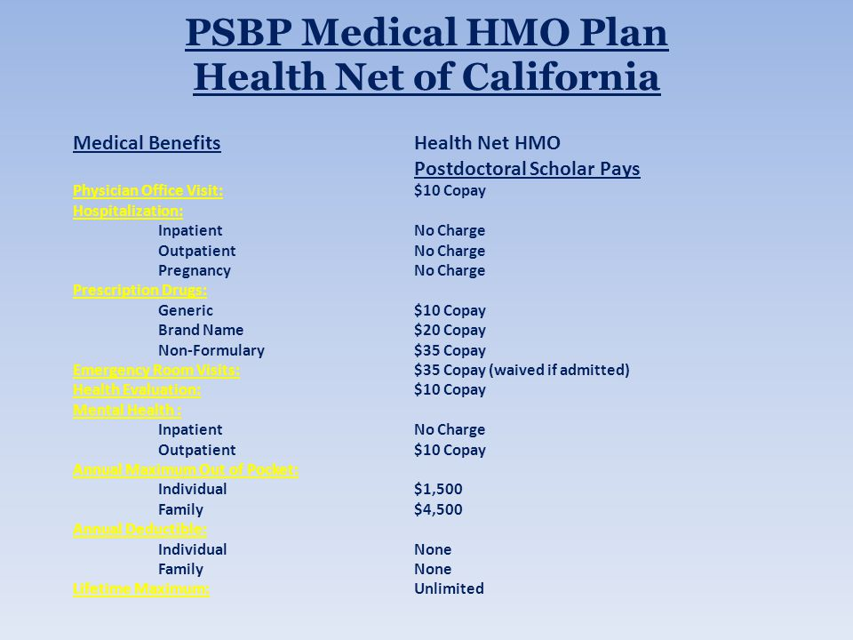PSBP Medical HMO Plan Health Net of California Medical BenefitsHealth Net HMO Postdoctoral Scholar Pays Physician Office Visit:$10 Copay Hospitalization: InpatientNo Charge OutpatientNo Charge PregnancyNo Charge Prescription Drugs: Generic$10 Copay Brand Name$20 Copay Non-Formulary$35 Copay Emergency Room Visits:$35 Copay (waived if admitted) Health Evaluation:$10 Copay Mental Health : InpatientNo Charge Outpatient$10 Copay Annual Maximum Out of Pocket: Individual$1,500 Family$4,500 Annual Deductible: IndividualNone FamilyNone Lifetime Maximum:Unlimited