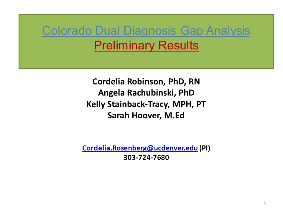 Colorado Dual Diagnosis Gap Analysis Preliminary Results 1 Cordelia Robinson, PhD, RN Angela Rachubinski, PhD Kelly Stainback-Tracy, MPH, PT Sarah Hoover, M.Ed Cordelia.Rosenberg@ucdenver.eduCordelia.Rosenberg@ucdenver.edu (PI) 303-724-7680
