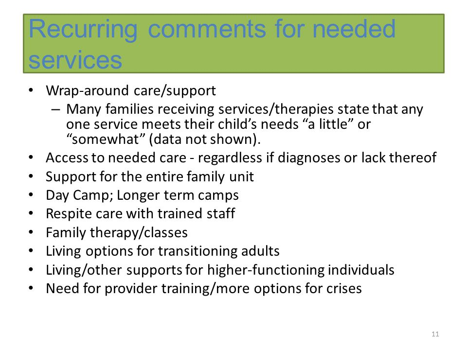 Recurring comments for needed services Wrap-around care/support – Many families receiving services/therapies state that any one service meets their child's needs a little or somewhat (data not shown).