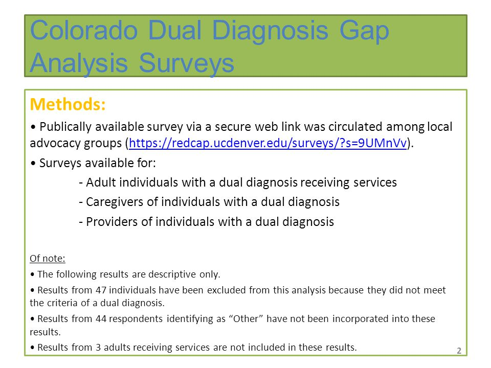 Methods: Publically available survey via a secure web link was circulated among local advocacy groups (https://redcap.ucdenver.edu/surveys/ s=9UMnVv).https://redcap.ucdenver.edu/surveys/ s=9UMnVv Surveys available for: - Adult individuals with a dual diagnosis receiving services - Caregivers of individuals with a dual diagnosis - Providers of individuals with a dual diagnosis Of note: The following results are descriptive only.
