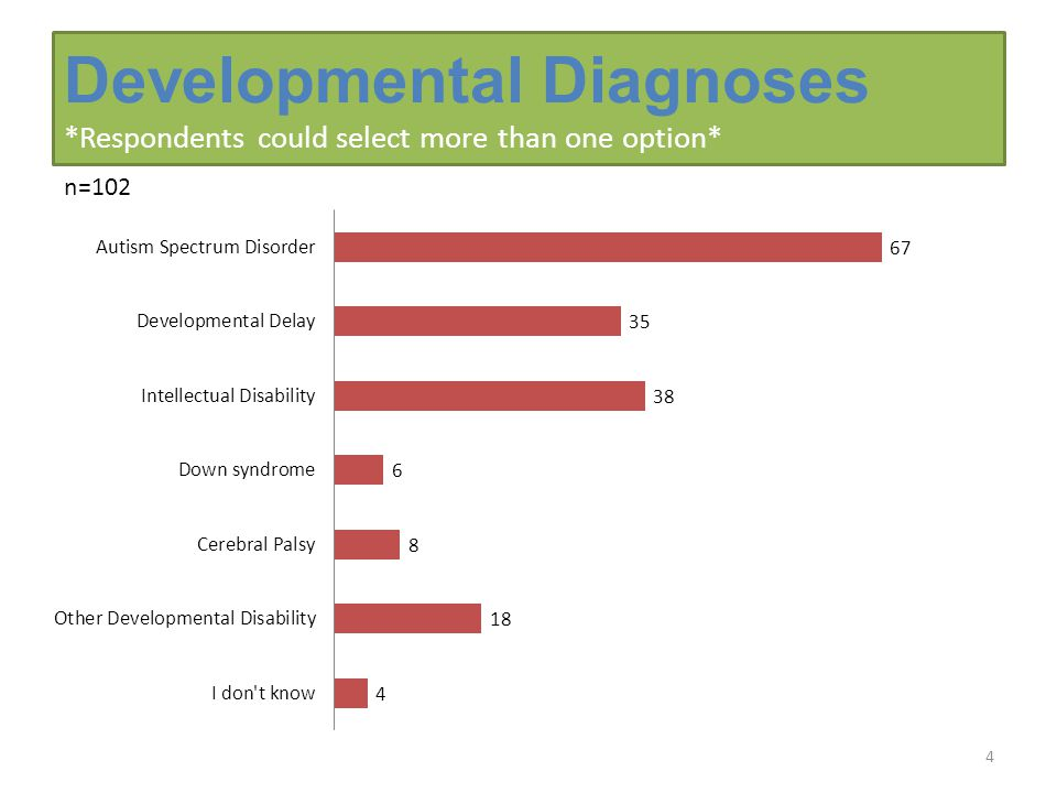Developmental Diagnoses *Respondents could select more than one option* 4 n=102