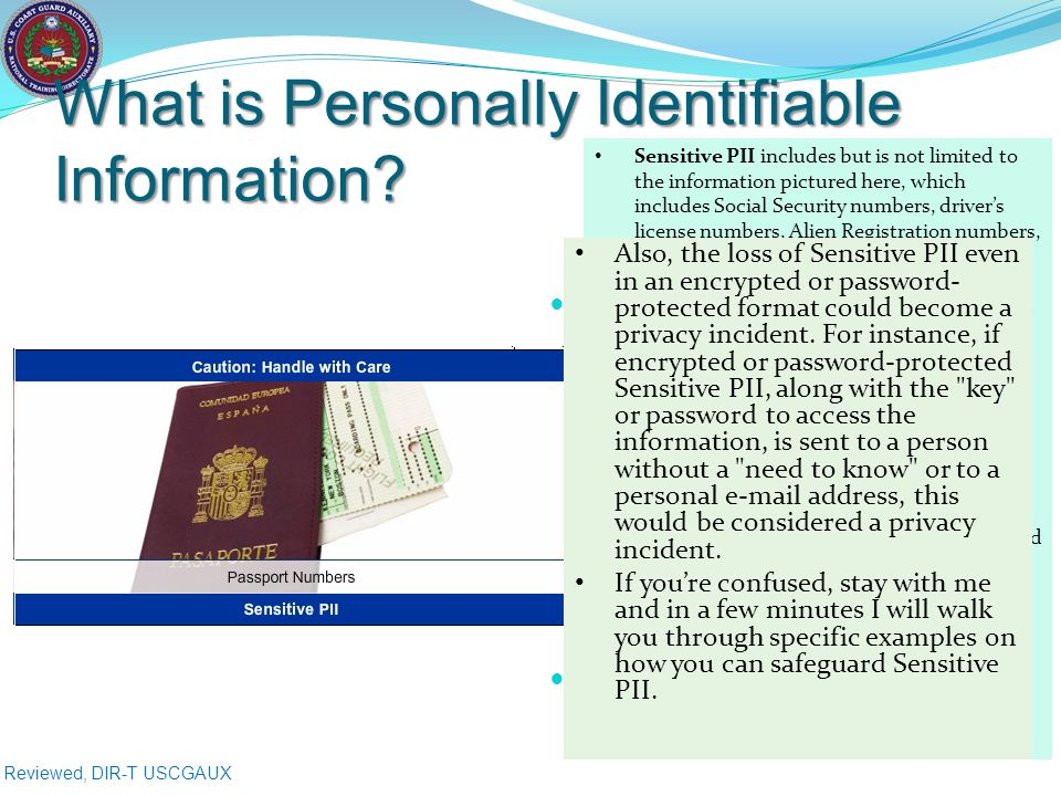 Reviewed, DIR-T USCGAUX What is Personally Identifiable Information.