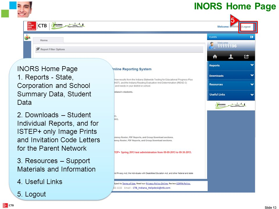 CTB IN Web Portal Scrolling Ticker Slide 13 INORS Home Page 5 5 1.