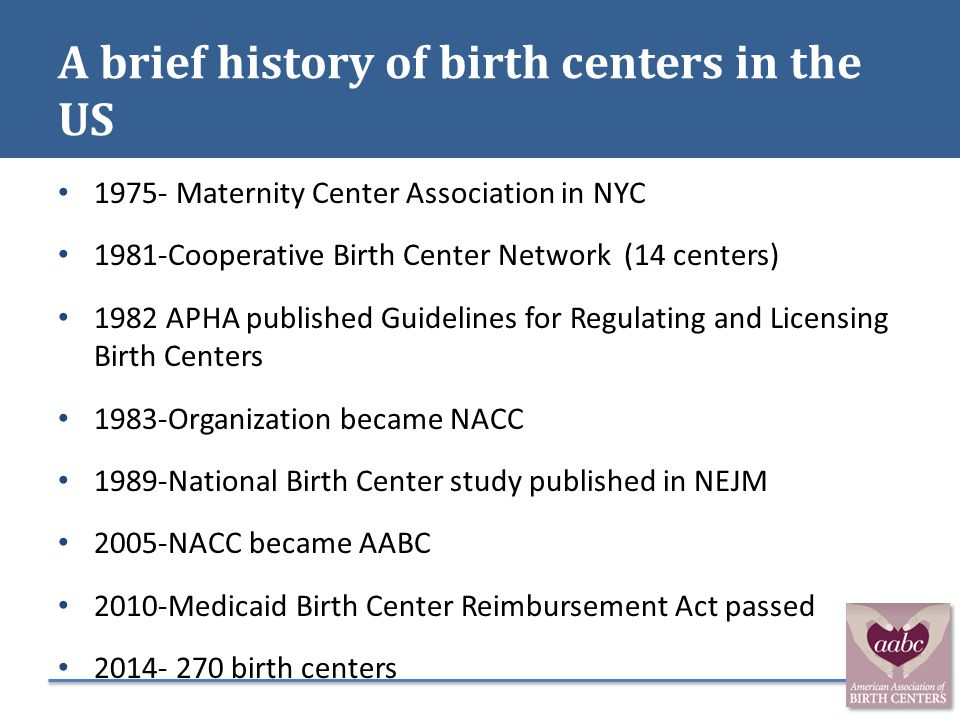 A brief history of birth centers in the US 1975- Maternity Center Association in NYC 1981-Cooperative Birth Center Network (14 centers) 1982 APHA publ