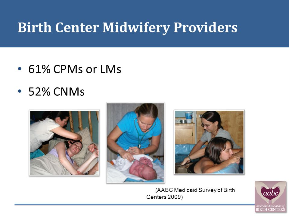 Birth Center Midwifery Providers 61% CPMs or LMs 52% CNMs (AABC Medicaid Survey of Birth Centers 2009)