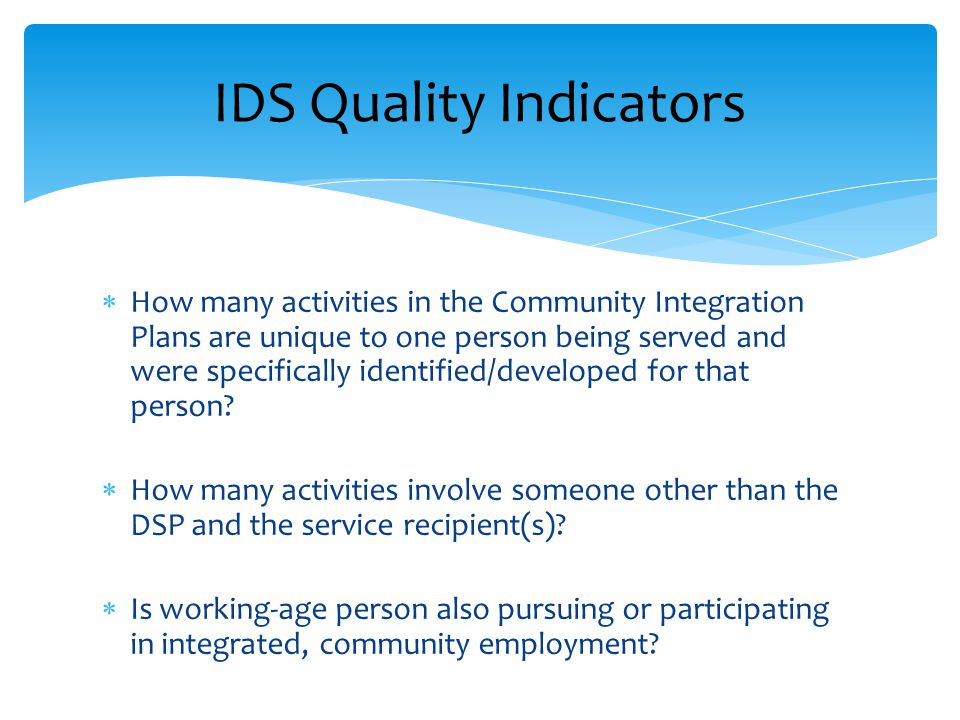  How many activities in the Community Integration Plans are unique to one person being served and were specifically identified/developed for that per