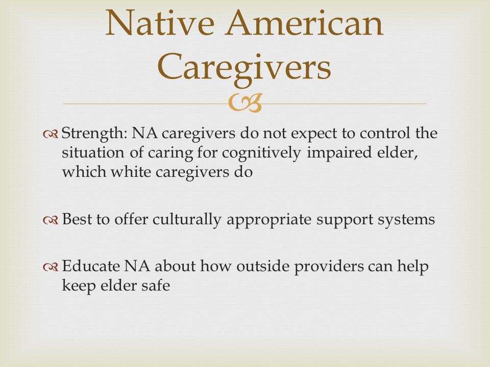   Strength: NA caregivers do not expect to control the situation of caring for cognitively impaired elder, which white caregivers do  Best to offer
