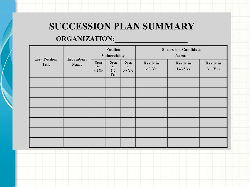 SUCCESSION PLAN SUMMARY ORGANIZATION:_____________________ Key Position Title Incumbent Name Position Vulnerability Succession Candidate Names Open in