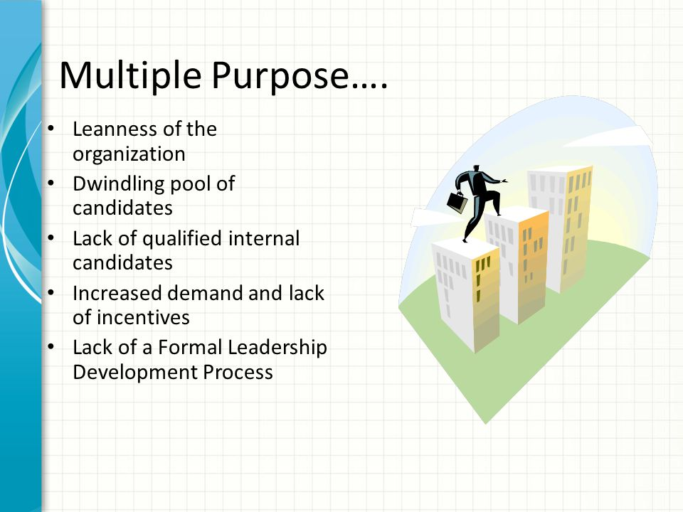Multiple Purpose…. Leanness of the organization Dwindling pool of candidates Lack of qualified internal candidates Increased demand and lack of incent