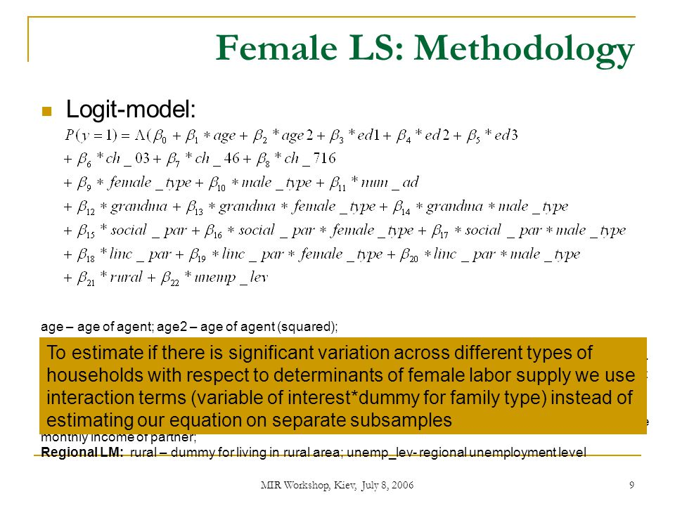 MIR Workshop, Kiev, July 8, 2006 10 Methodology: dependent variable