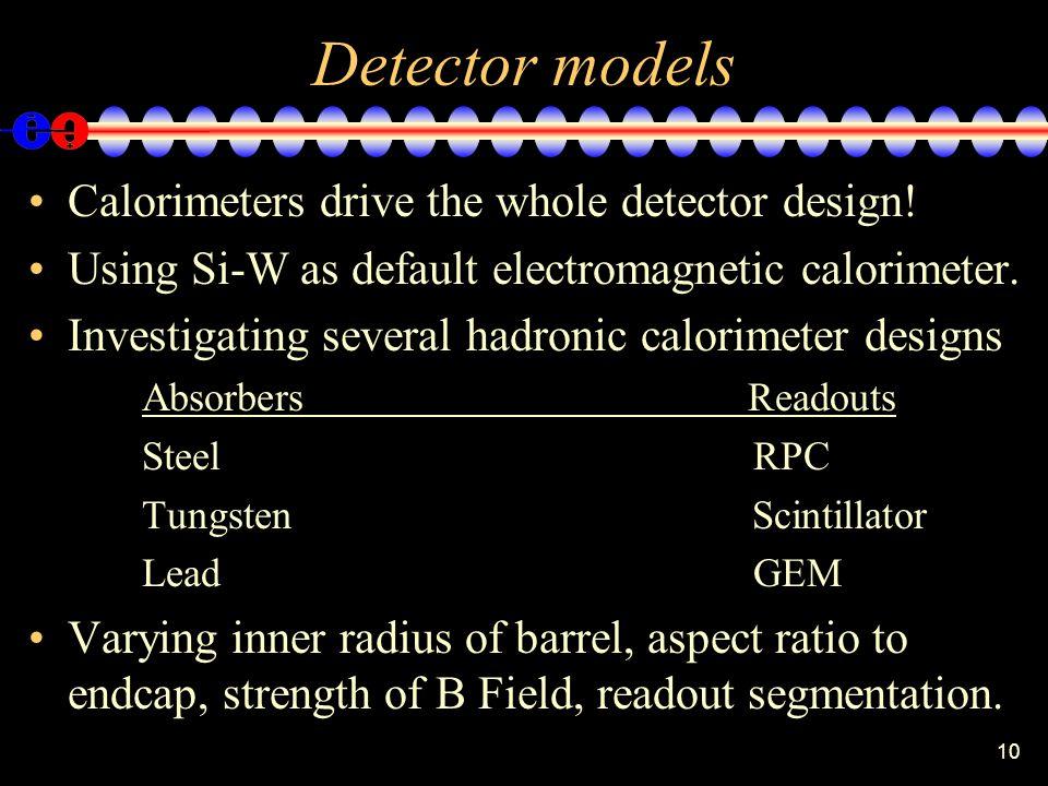 10 Detector models Calorimeters drive the whole detector design.