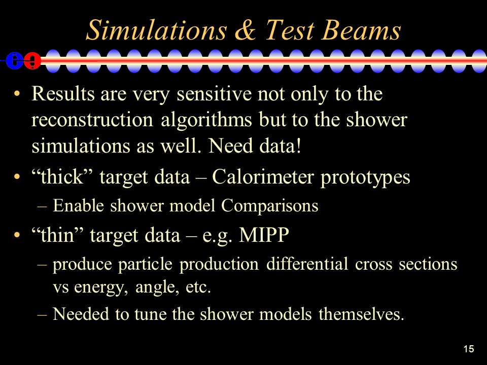"""15 Simulations & Test Beams Results are very sensitive not only to the reconstruction algorithms but to the shower simulations as well. Need data! """"th"""