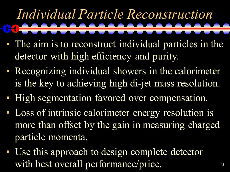 3 Individual Particle Reconstruction The aim is to reconstruct individual particles in the detector with high efficiency and purity.