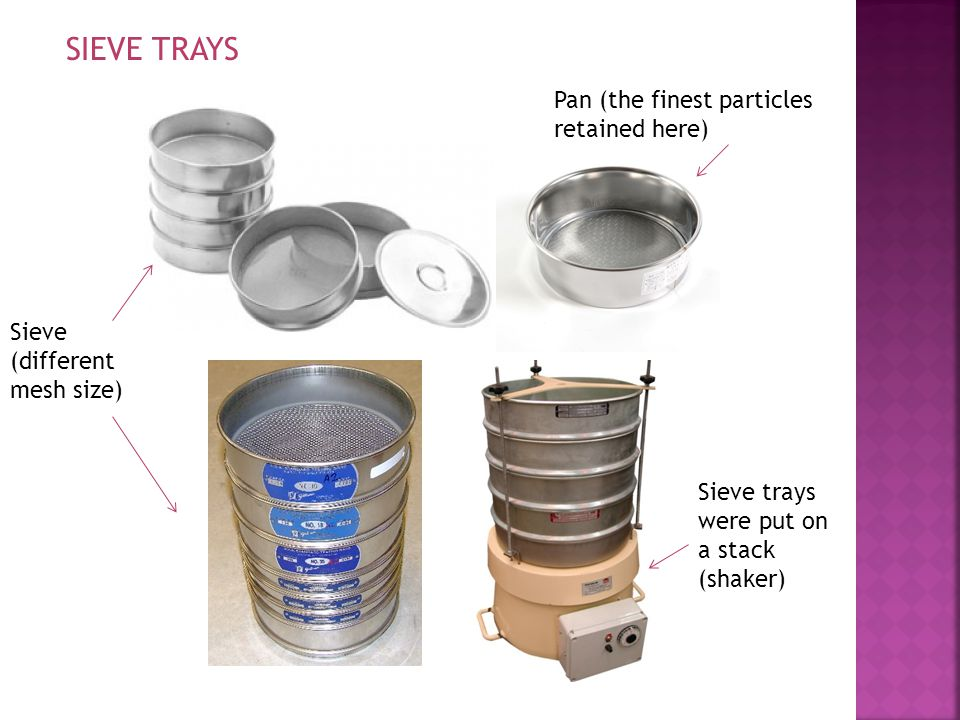 SIEVE TRAYS Pan (the finest particles retained here) Sieve trays were put on a stack (shaker) Sieve (different mesh size)