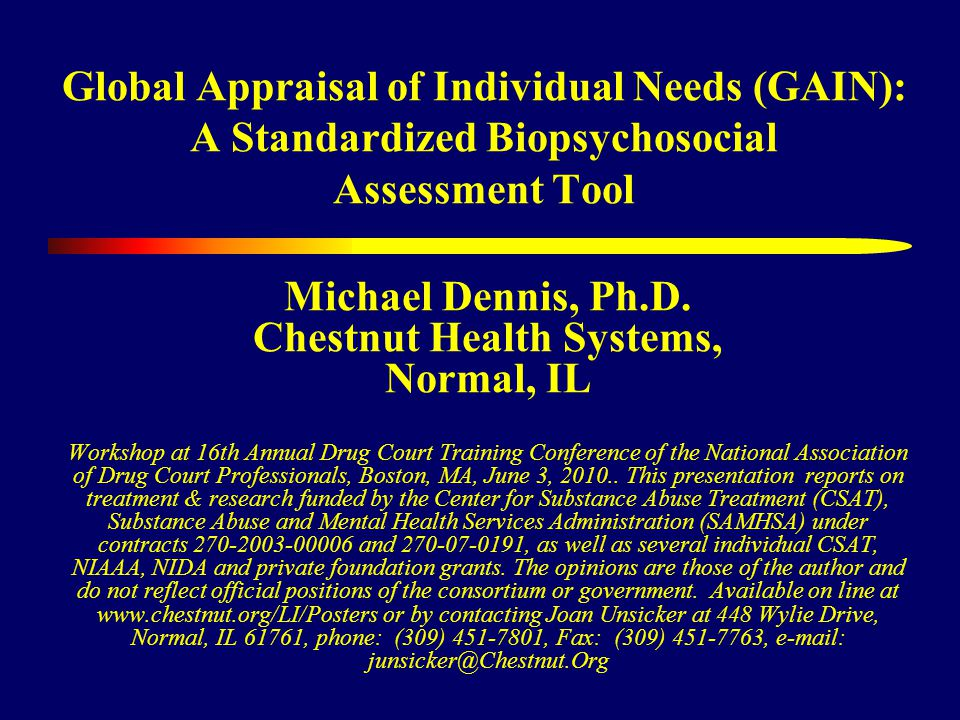 Global Appraisal of Individual Needs (GAIN): A Standardized Biopsychosocial Assessment Tool Michael Dennis, Ph.D.
