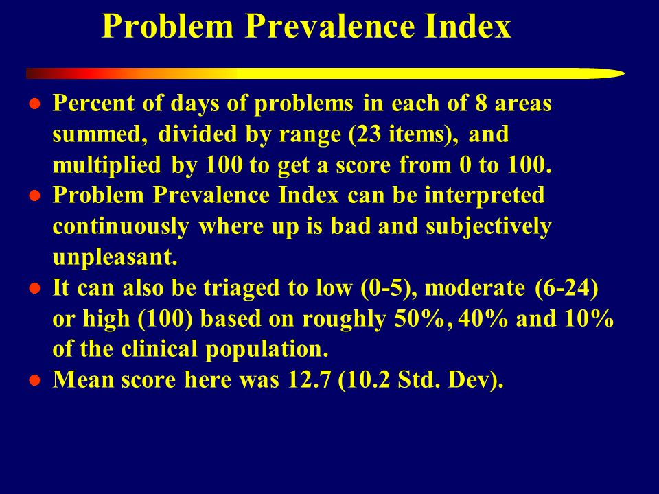 Problem Prevalence Index Percent of days of problems in each of 8 areas summed, divided by range (23 items), and multiplied by 100 to get a score from 0 to 100.