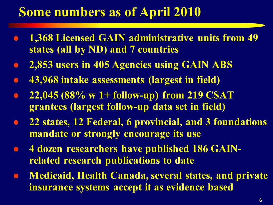 Some numbers as of April 2010 1,368 Licensed GAIN administrative units from 49 states (all by ND) and 7 countries 2,853 users in 405 Agencies using GAIN ABS 43,968 intake assessments (largest in field) 22,045 (88% w 1+ follow-up) from 219 CSAT grantees (largest follow-up data set in field) 22 states, 12 Federal, 6 provincial, and 3 foundations mandate or strongly encourage its use 4 dozen researchers have published 186 GAIN- related research publications to date Medicaid, Health Canada, several states, and private insurance systems accept it as evidence based 6