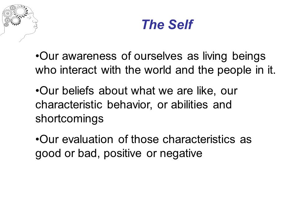 The Self Our awareness of ourselves as living beings who interact with the world and the people in it. Our beliefs about what we are like, our charact