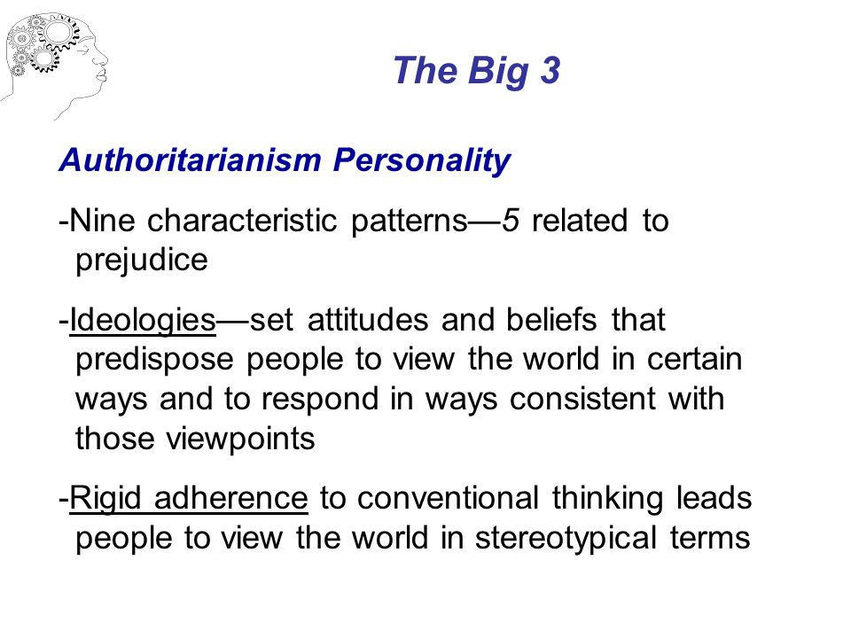 The Big 3 Authoritarianism Personality -Nine characteristic patterns—5 related to prejudice -Ideologies—set attitudes and beliefs that predispose peop